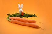 White rabbit toy. Easter bunny on a orange background. Easter rabbit with egg. Spring decoration images. Easter concept. Bunch of carrots with a bunny