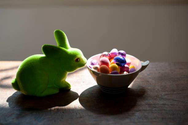 osterhase mit schokoladeneiern - plüschhase stock-fotos und bilder