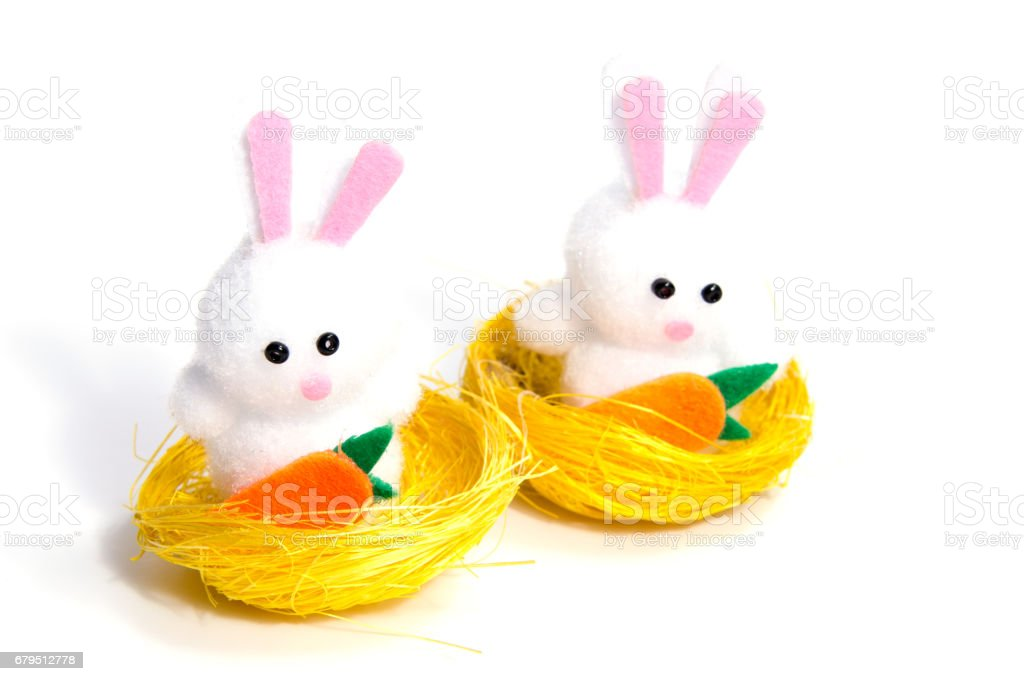 Easter bunny with eggs, on white background royalty-free stock photo