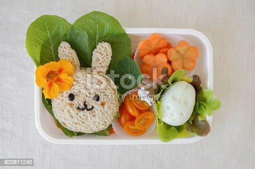 istock Easter Buny healthy lunch box, fun food art for kids 625811240