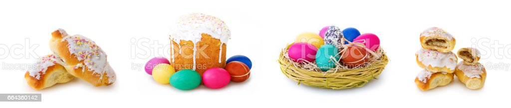 Easter cake and easter eggs on white background - foto de acervo