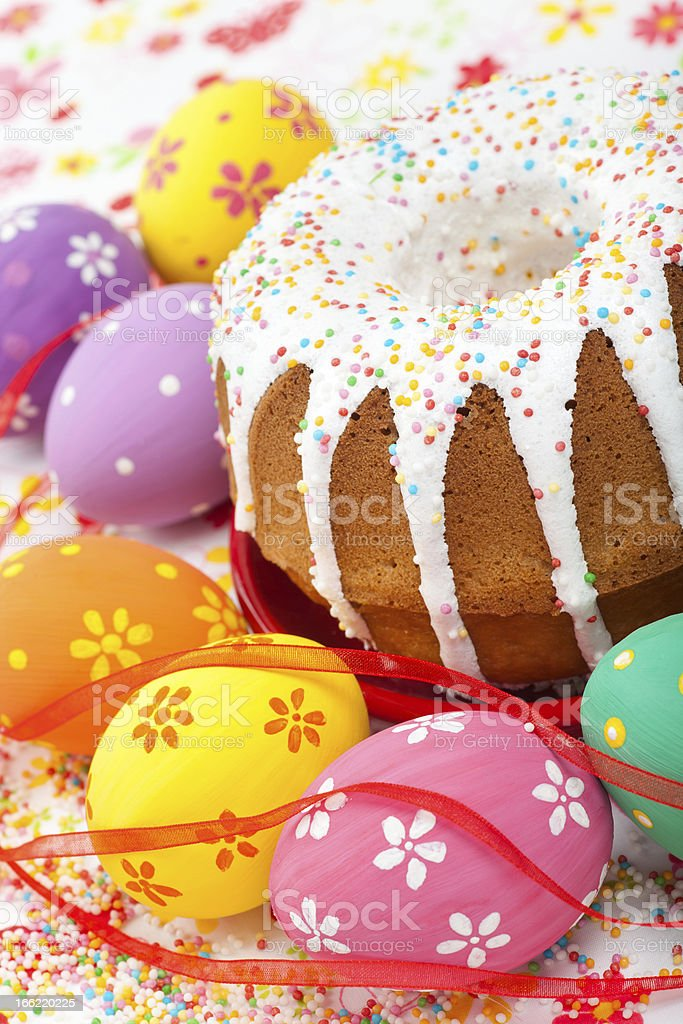 easter cake and eggs royalty-free stock photo