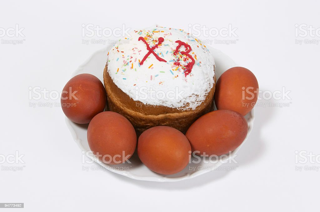 Easter cake and paschal eggs royalty-free stock photo