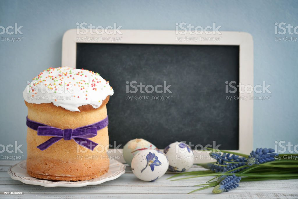 Easter cake on the plate royalty-free stock photo
