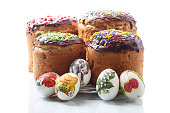 Easter cake with eggs on white background