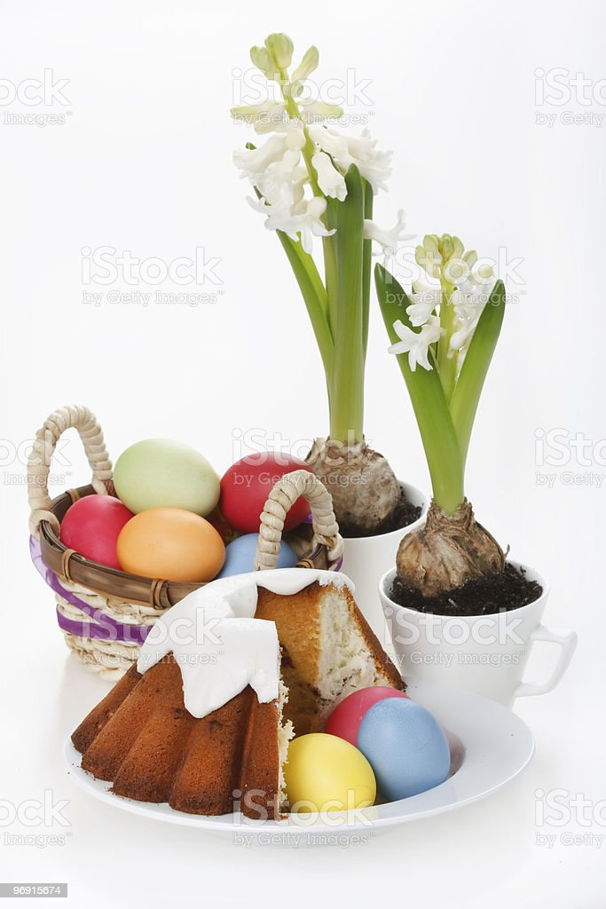 Easter cake with eggs royalty-free stock photo