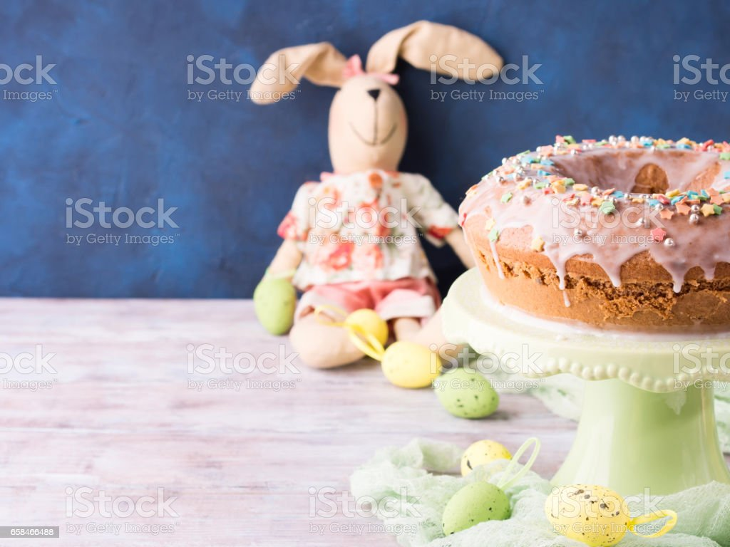 Easter Cake With Sugar Frosting Decorations Eggs Bunny Stock Photo