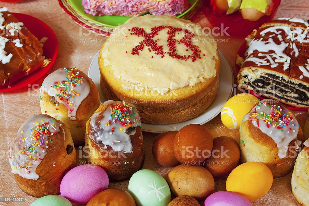 Easter cakes and eggs royalty-free stock photo