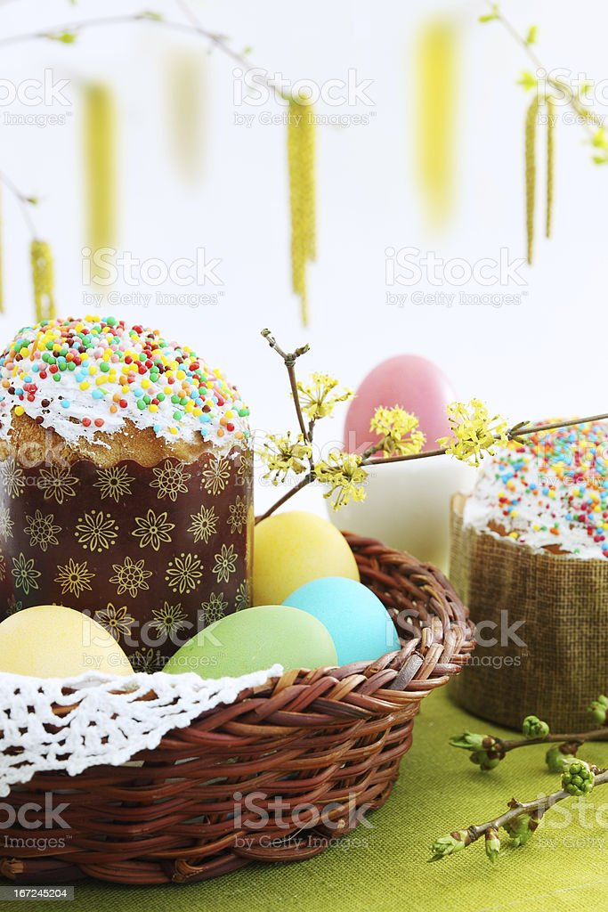 Easter cakes with eggs royalty-free stock photo