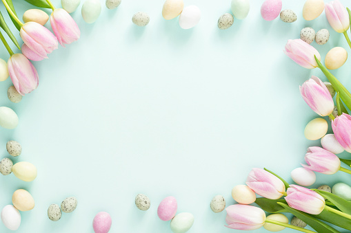 Easter candy eggs and tulips.
