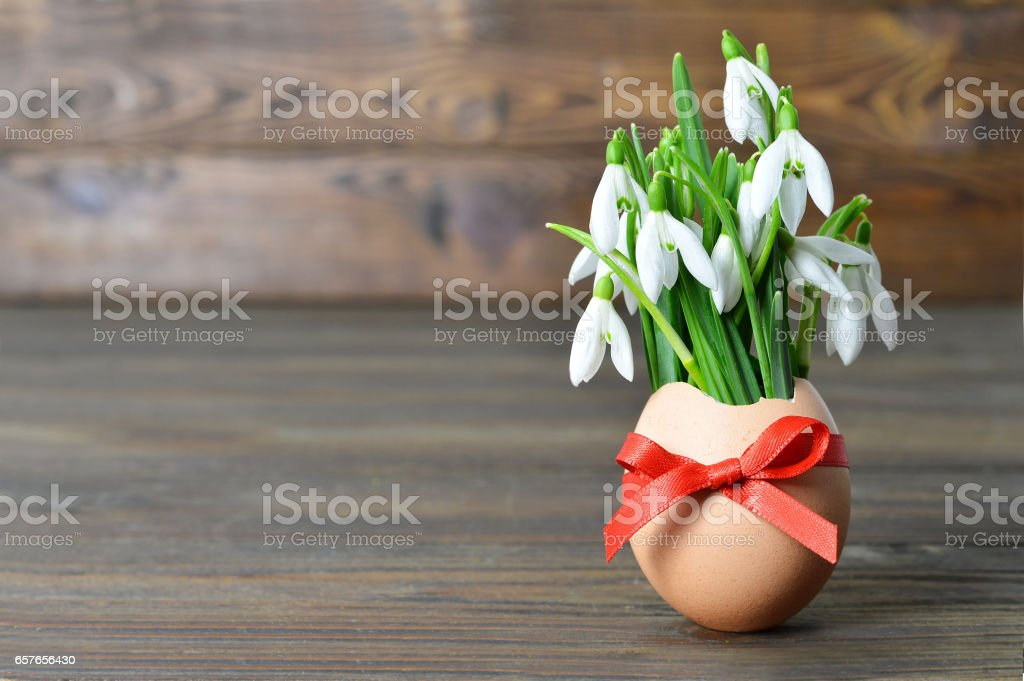 Easter card: Spring flowers in eggshell on wooden table stock photo