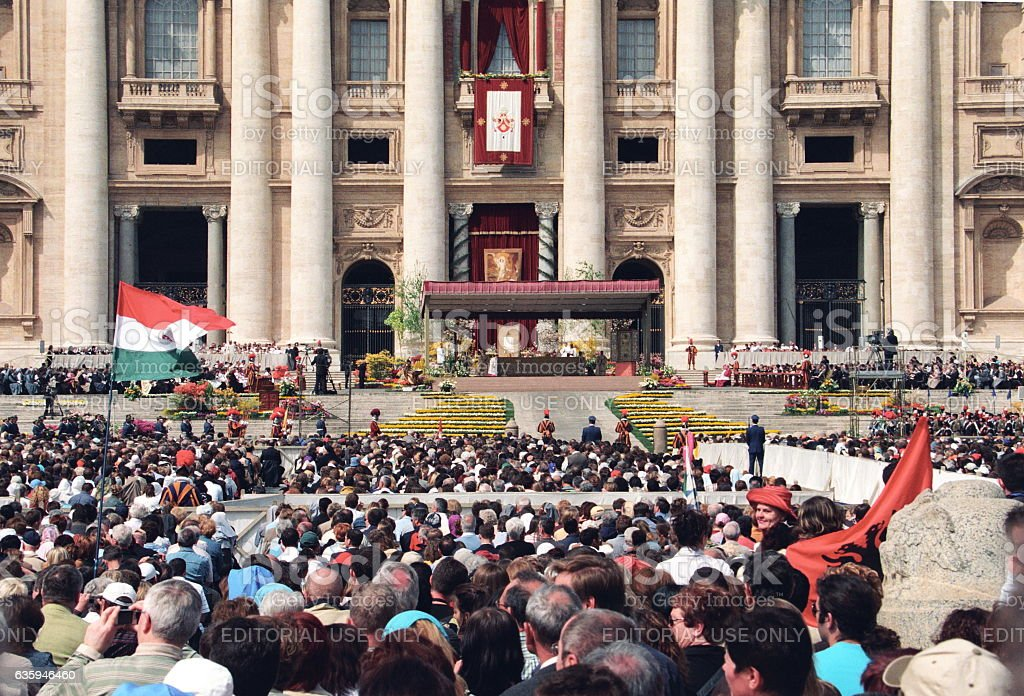 Easter celebration at St Peter's Square in Vatican, Italy stock photo