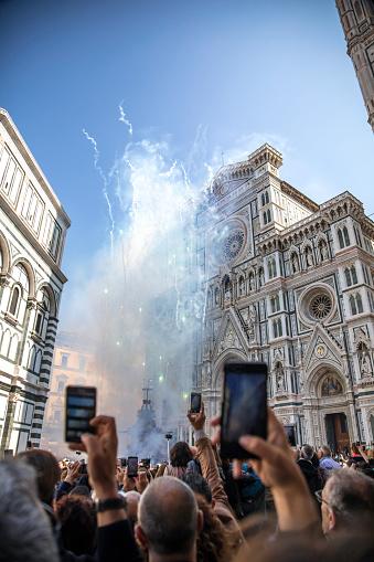 피렌체 이탈리아에서 부활절 축 하 관중에 대한 스톡 사진 및 기타 이미지
