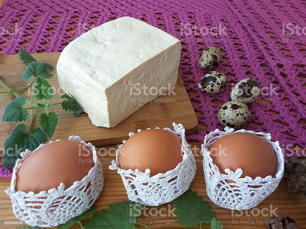 Сыр торт на Пасху, яйца стоковое фото