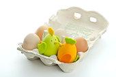easter chicks in egg box