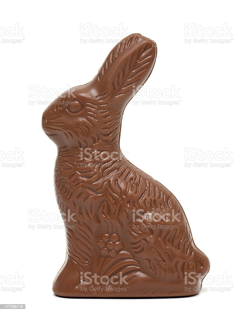 Easter chocolate bunny on white background stock photo