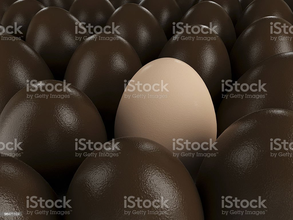 Easter chocolate eggs and egg royalty-free stock photo