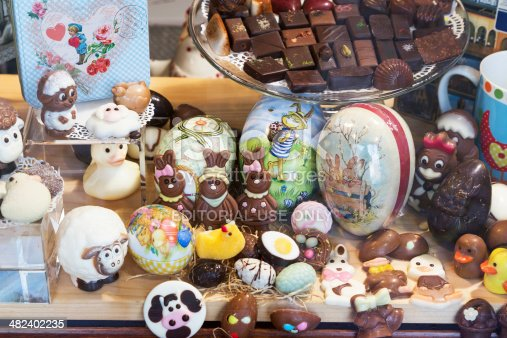 Bruges, Belgium - March 27, 2014: Easter chocolates on display in a shop window in Bruges, Belgium.