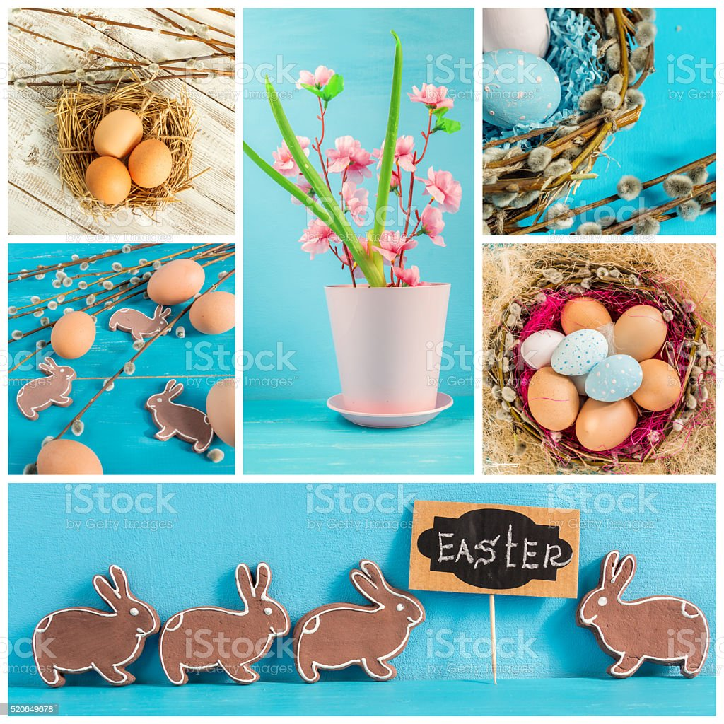 Easter collage of several photos. stock photo