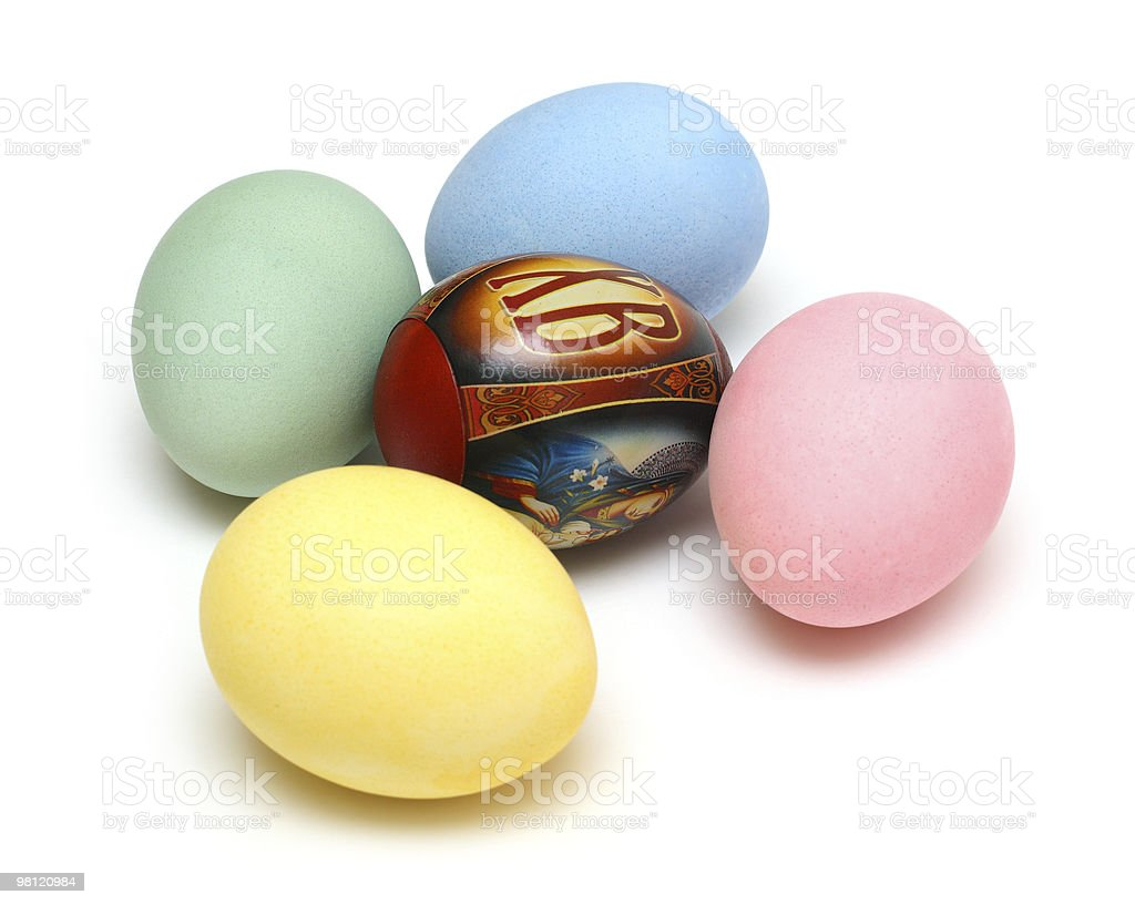 easter - colored eggs on white royalty-free stock photo