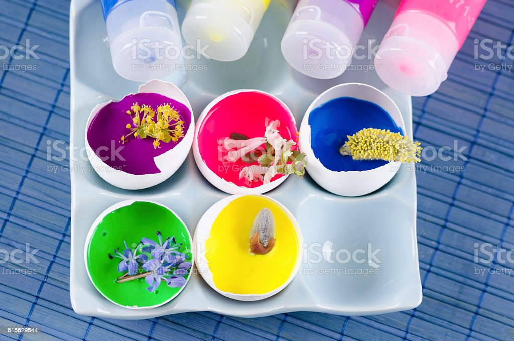 Easter colorful decoration and spring flowers plus egg shells stock photo