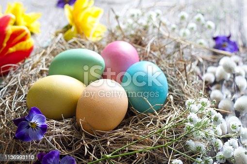 912300146 istock photo Easter colorful eggs in the nest with flowers on vintage wooden boards 1136993110