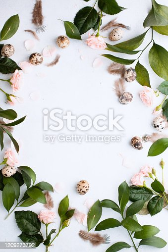 Easter concept. Easter of circle frame for your banner with feathers, branches and buds rose and quail eggs on white background with place for text. Top view. Flat lay. Postcard for Spring Holidays