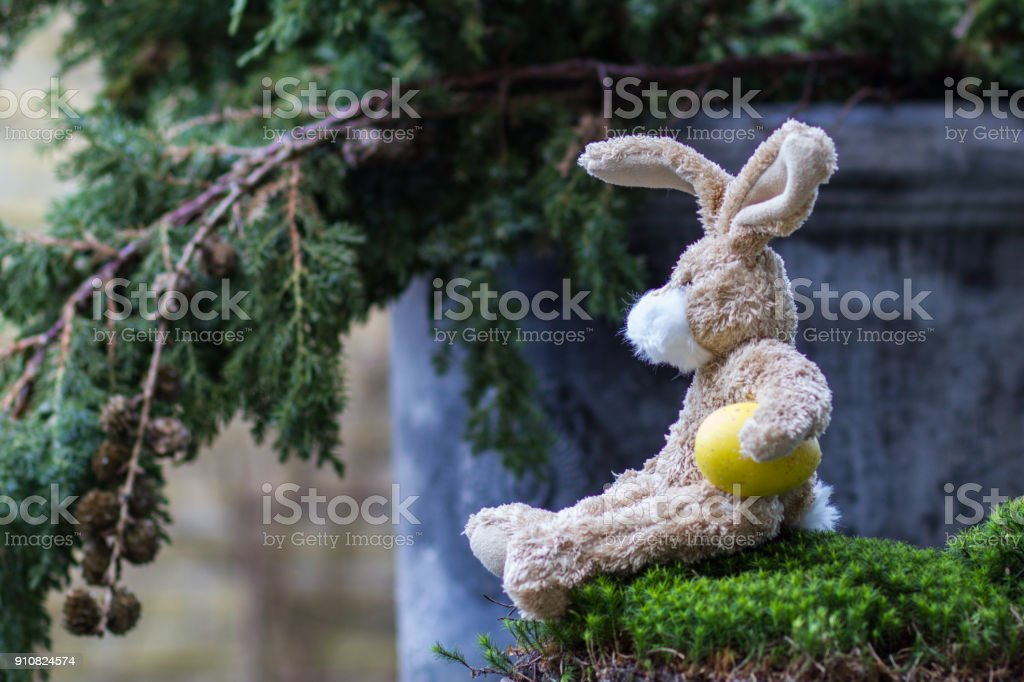 Easter concept. Funny teddy rabbit with a yellow egg. stock photo