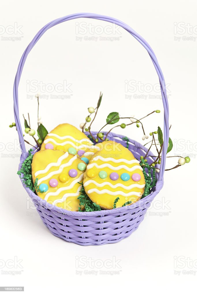 Easter cookies in a basket royalty-free stock photo