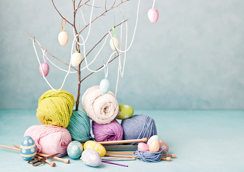 Easter crafts, Easter eggs, knitting and crochet, wool and hook