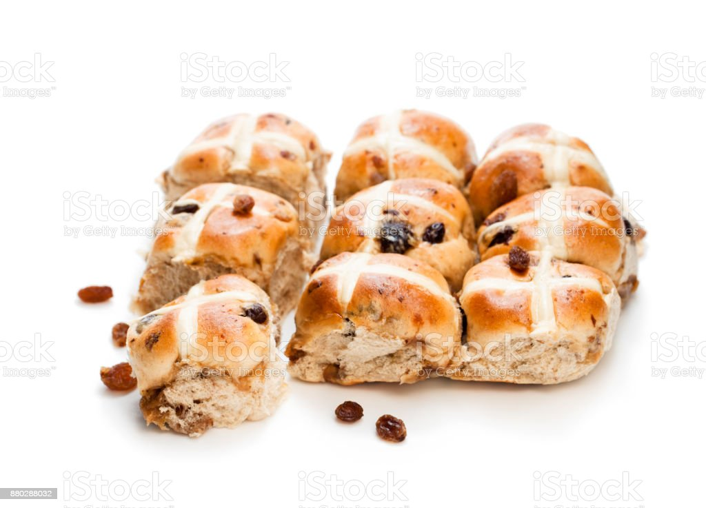 Easter  cross buns and sultanas isolated on white background stock photo