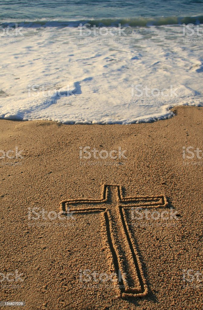Easter Cross on the Sand royalty-free stock photo