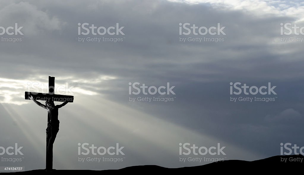 The Crucifix with a dark sunset on Good Friday... the death of Christ.