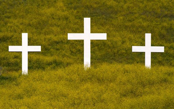 Easter Crosses On Hillside Of Wildflowers stock photo