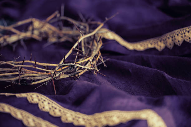 Easter Crown of Thorns on a Purple Robe stock photo
