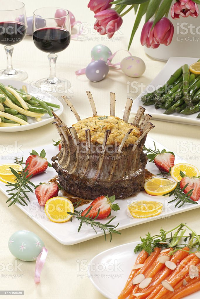 Easter Crown Roast of Lamb stock photo