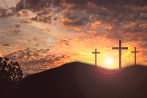 easter, crucifixion scene with three cross on hill. - cross stock photos and pictures