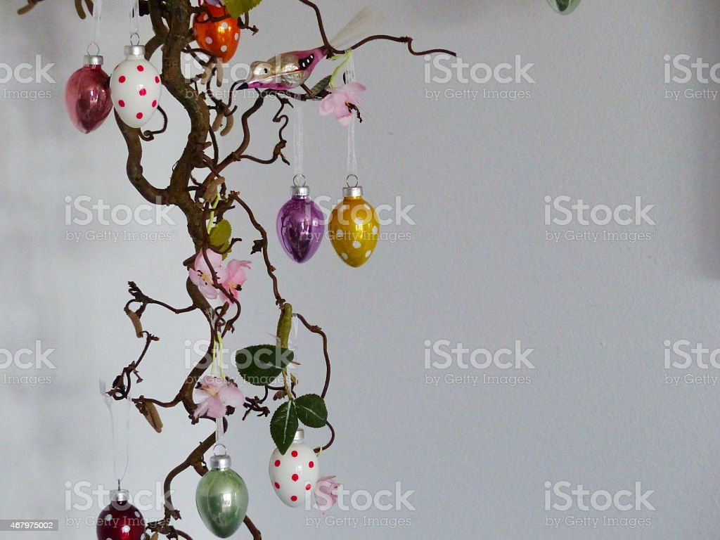 Easter Customs The Easter Tree With Egg Decorations Stock