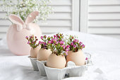 Easter decor - Flowers in eggshells