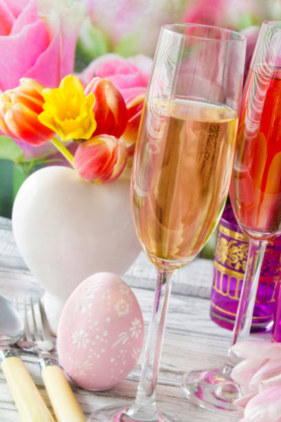 easter decoration and champagne - easter brunch stock photos and pictures