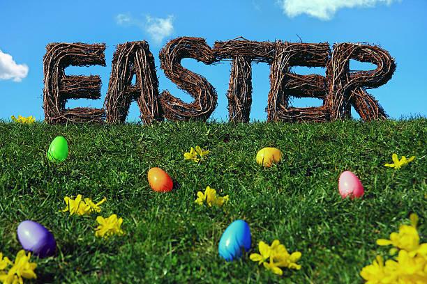 ostern dekoration mit eiern, auf dem rasen - garden types stock-fotos und bilder