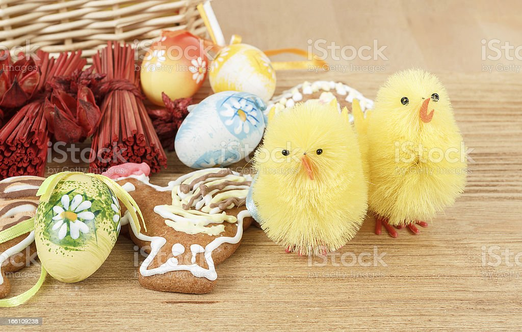 easter decoration, ginger bread, chicken and painted eggs royalty-free stock photo