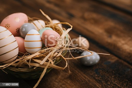 Easter decoration on wooden table