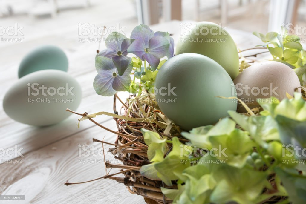 Easter decoration with a nest stock photo