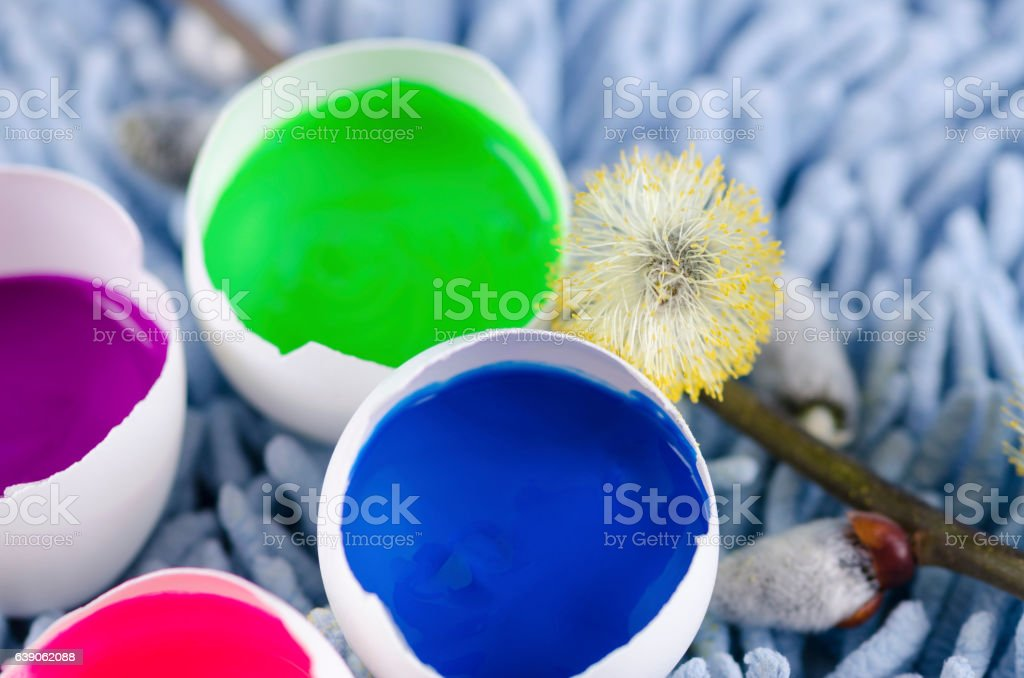 Easter decoration with colorful egg shells stock photo