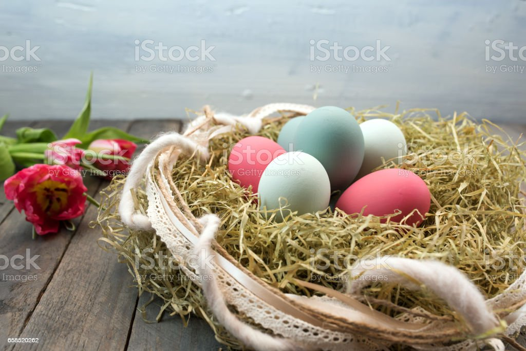 Easter decoration with colorful eggs stock photo