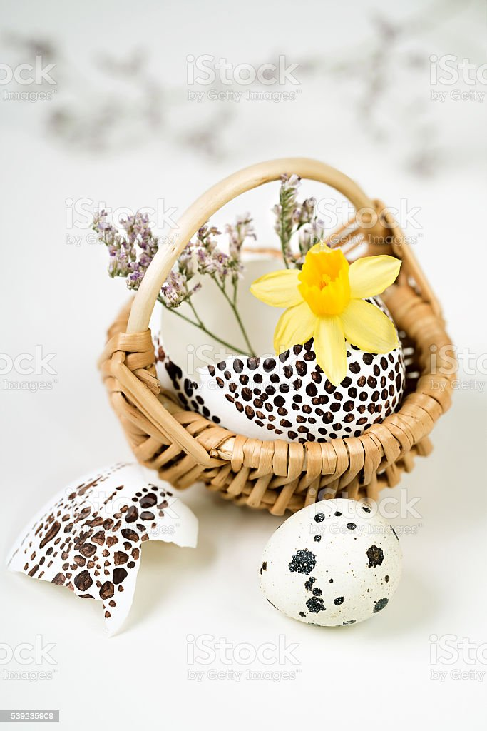Easter decorations on neutral background in white, yellow and gr royalty-free stock photo
