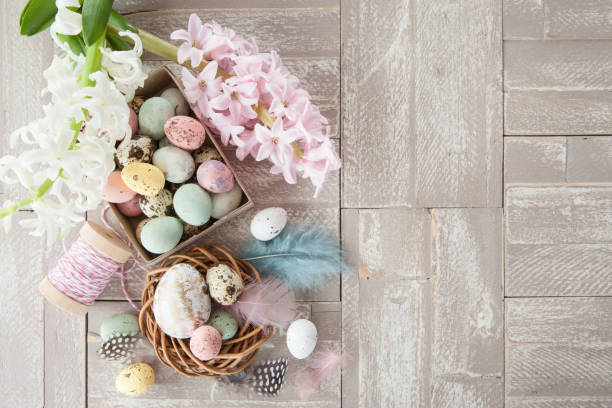 Easter decorations on wooden background stock photo