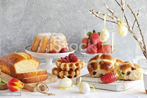 1131445181 istock photo Easter dessert table 1128229905