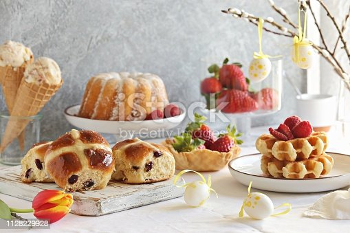 1131445181 istock photo Easter dessert table 1128229928